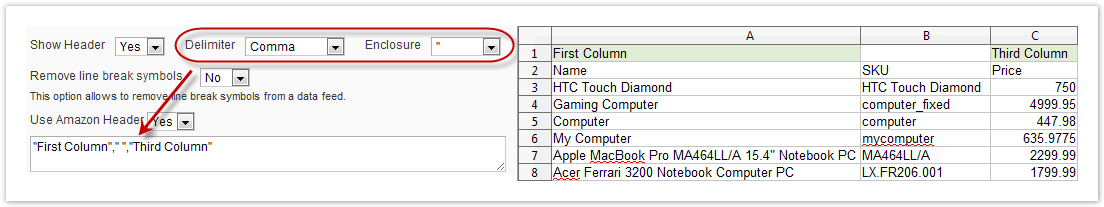 Content Settings for CSV/TXT – GoMage